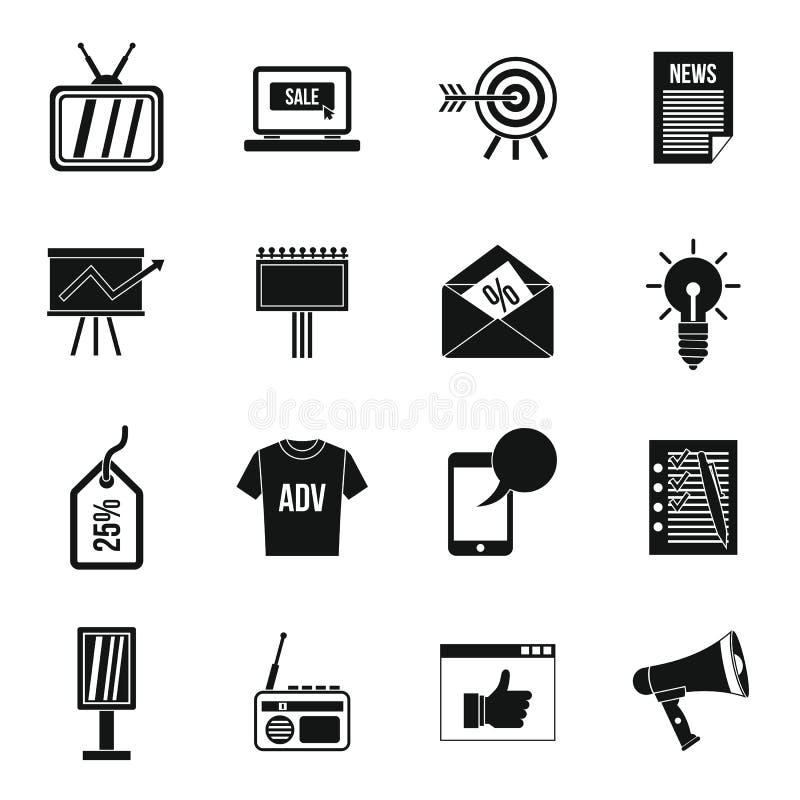 Установленные значки, простой стиль рекламы бесплатная иллюстрация