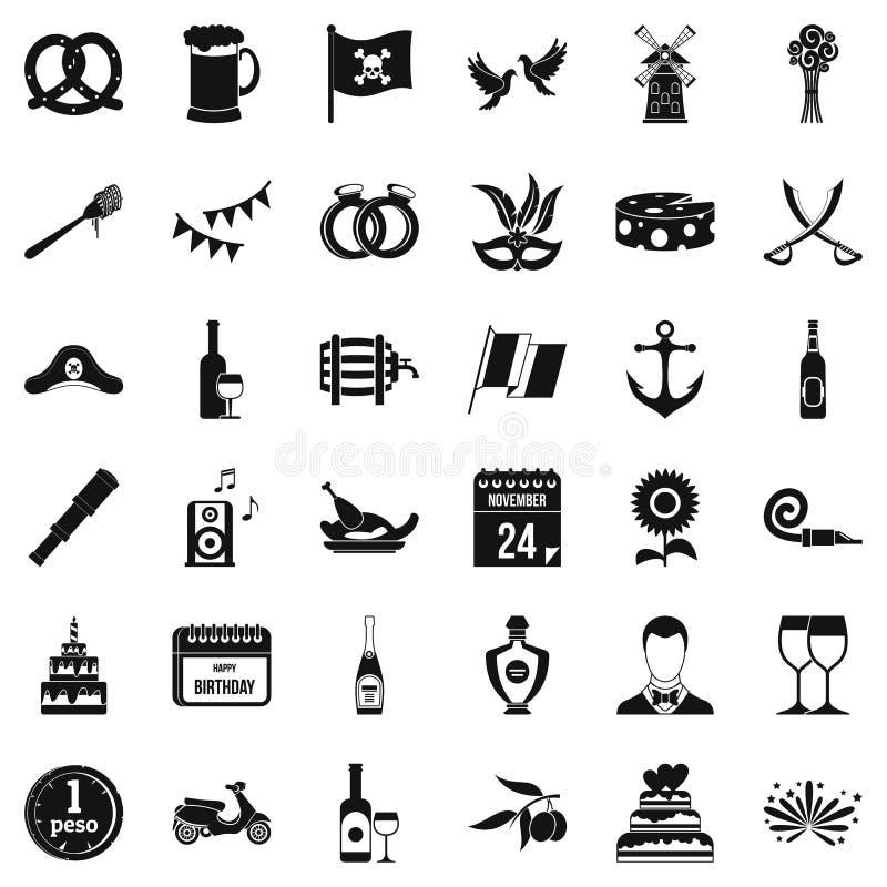 Установленные значки, простой стиль торжества иллюстрация вектора