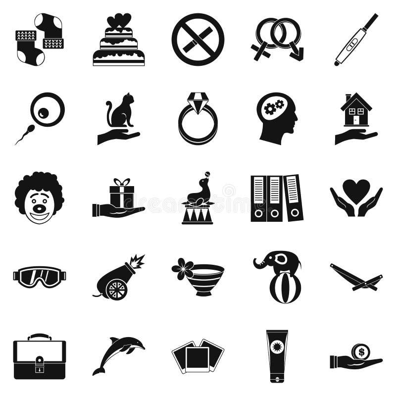Установленные значки, простой стиль упоением иллюстрация штока