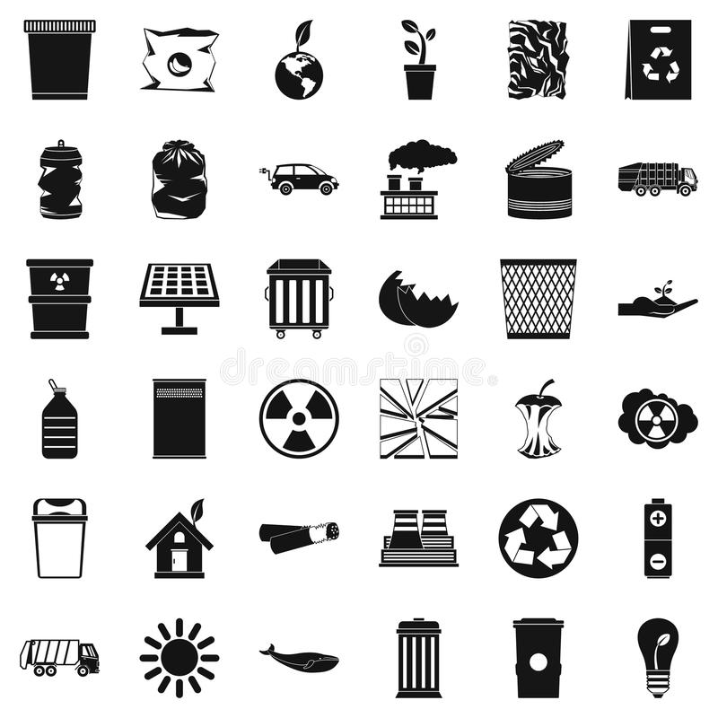 Установленные значки, простой стиль экологичности бесплатная иллюстрация