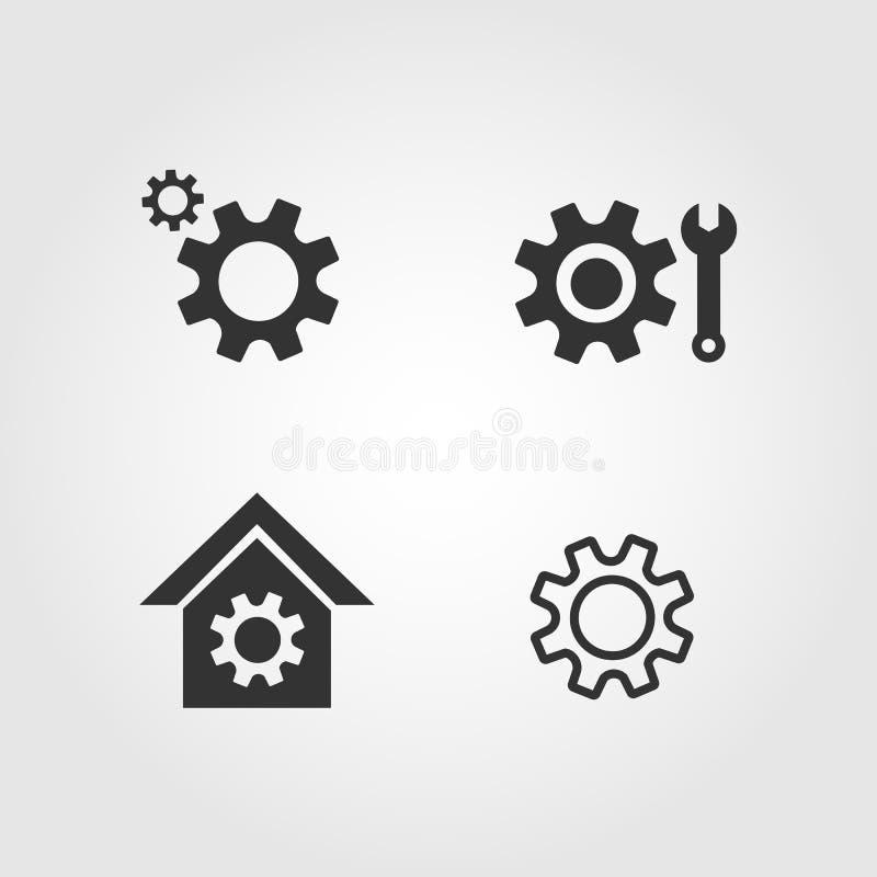 Установленные значки, плоский дизайн шестерни бесплатная иллюстрация