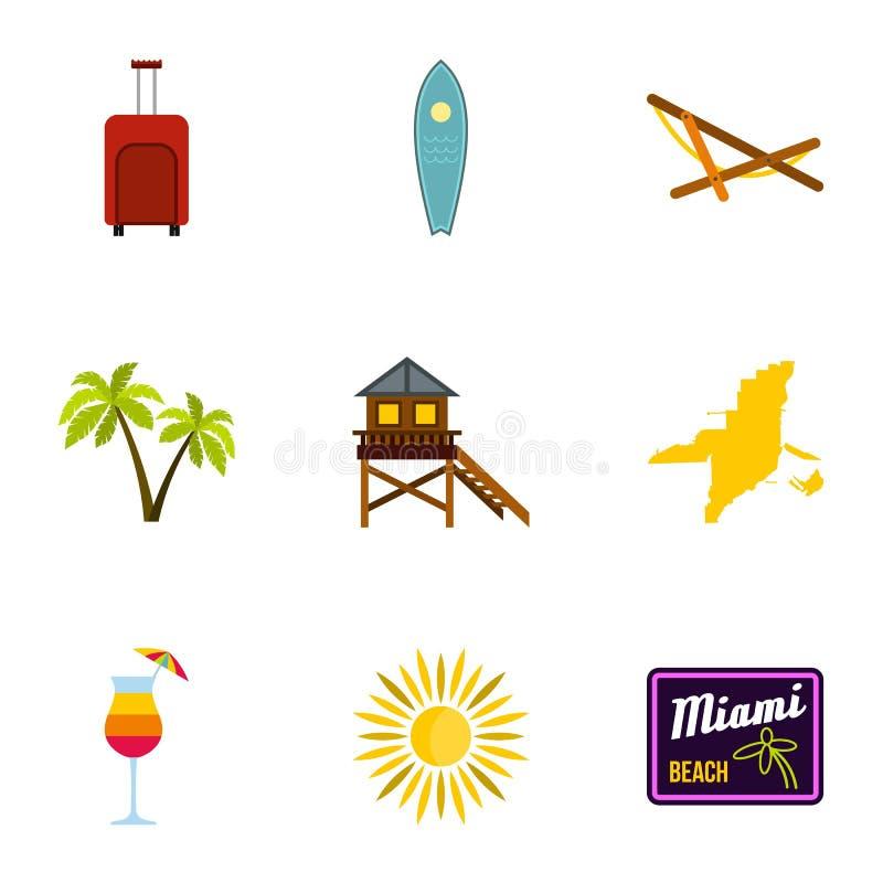 Установленные значки, плоский стиль Майами города иллюстрация штока