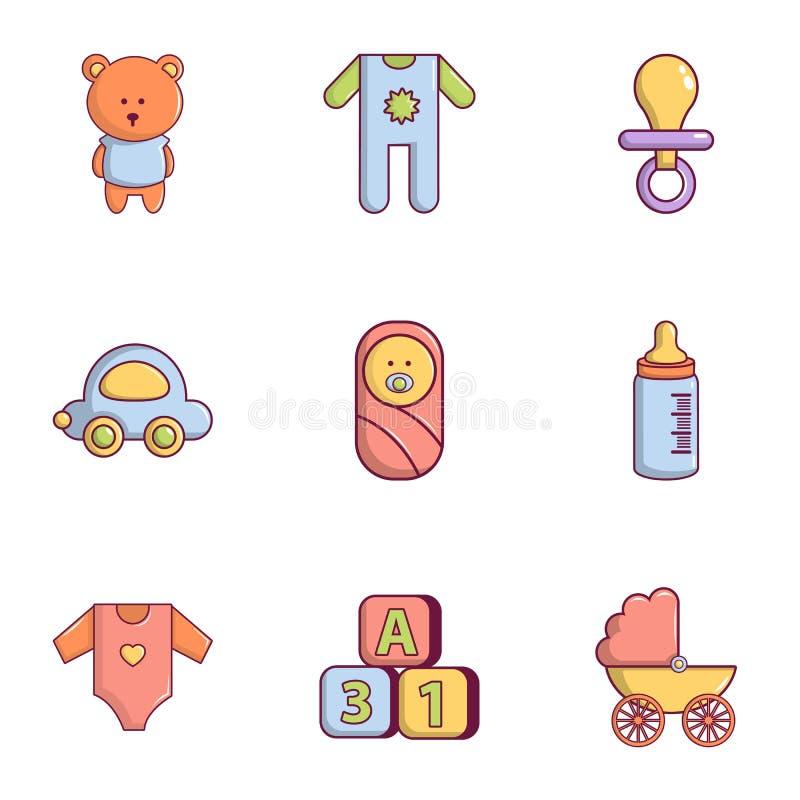 Установленные значки, плоский стиль оборудования младенца бесплатная иллюстрация
