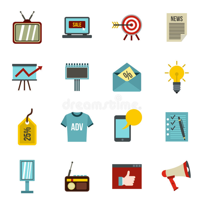 Установленные значки, плоский стиль рекламы иллюстрация вектора