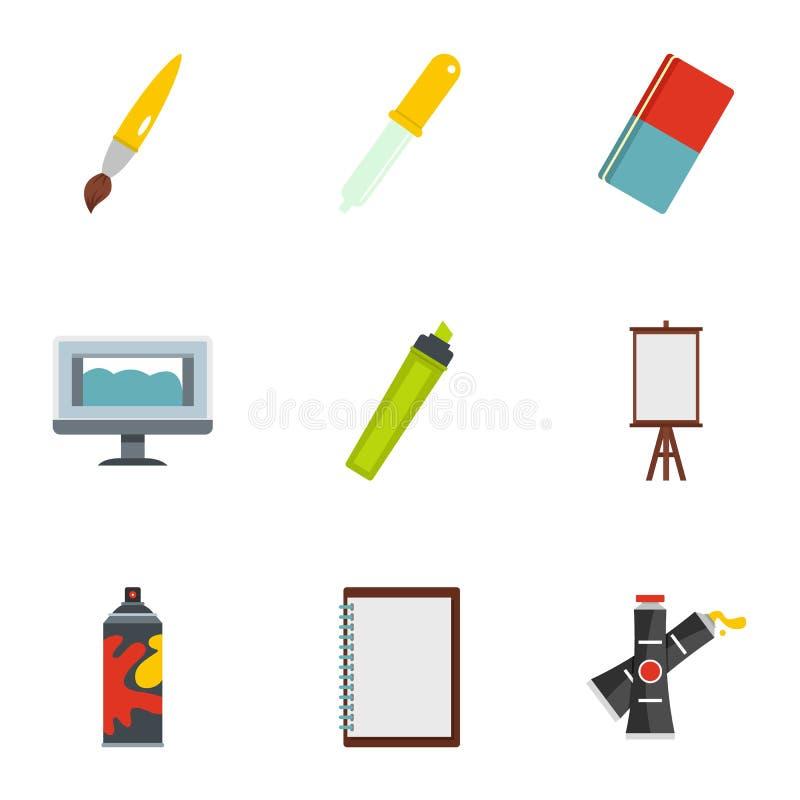 Установленные значки, плоский стиль художественного училища иллюстрация вектора