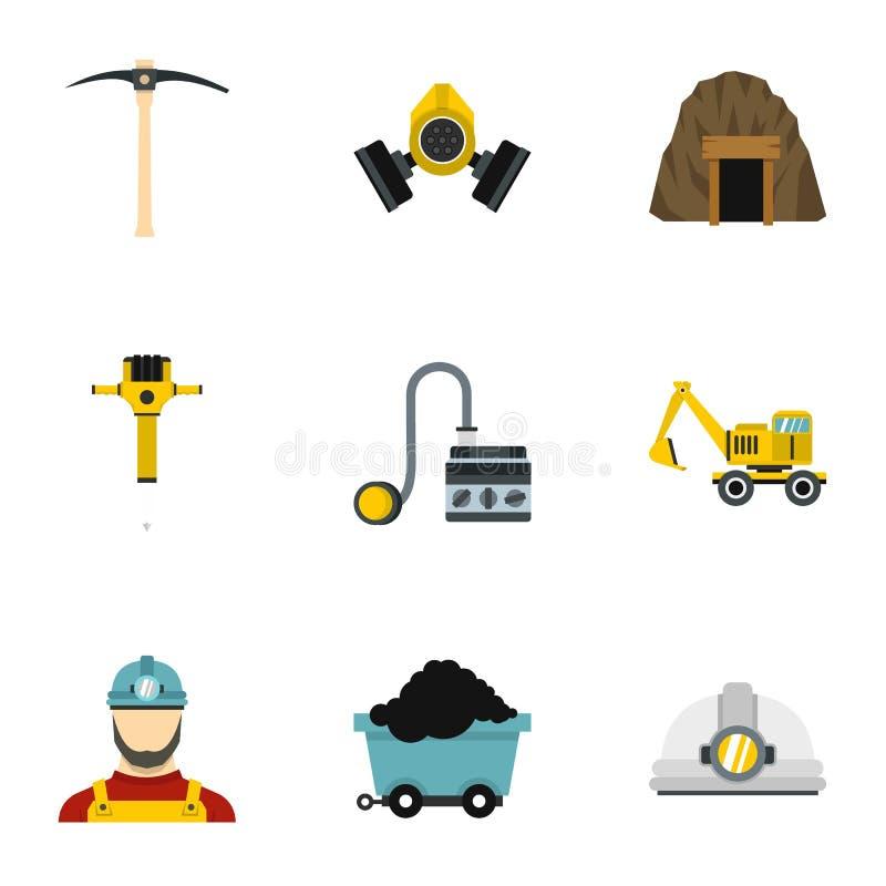 Установленные значки, плоский стиль шахты бесплатная иллюстрация