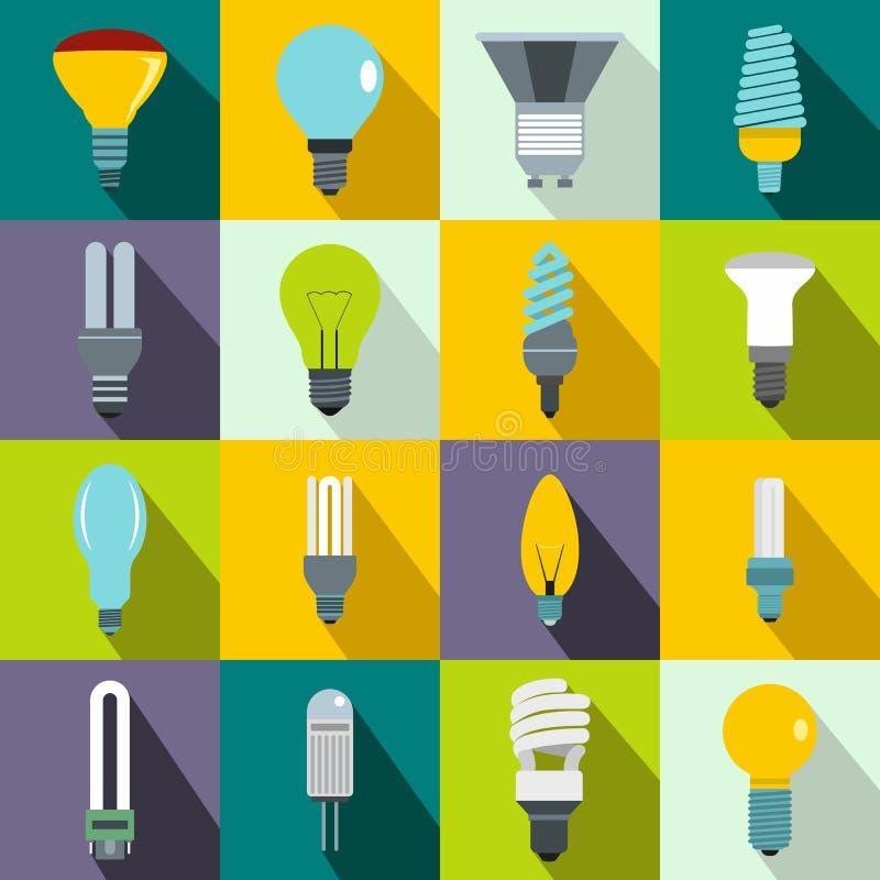 Установленные значки, плоский стиль электрической лампочки иллюстрация вектора