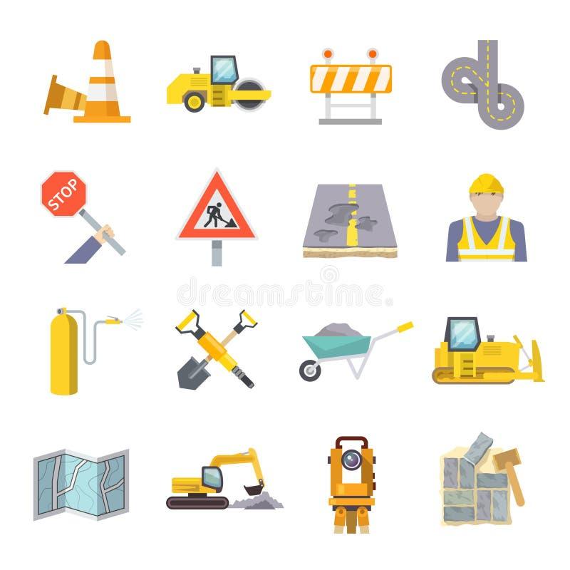 Установленные значки работника дороги плоские иллюстрация штока
