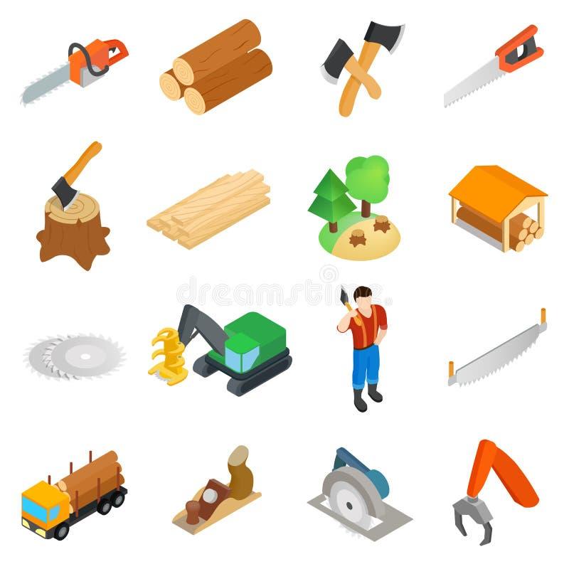 Установленные значки, равновеликий Lumberjack стиль 3d иллюстрация вектора