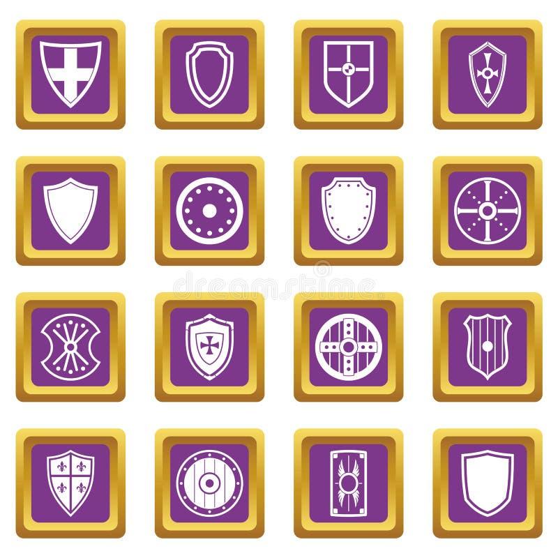 Установленные значки рамок экрана фиолетовыми иллюстрация штока
