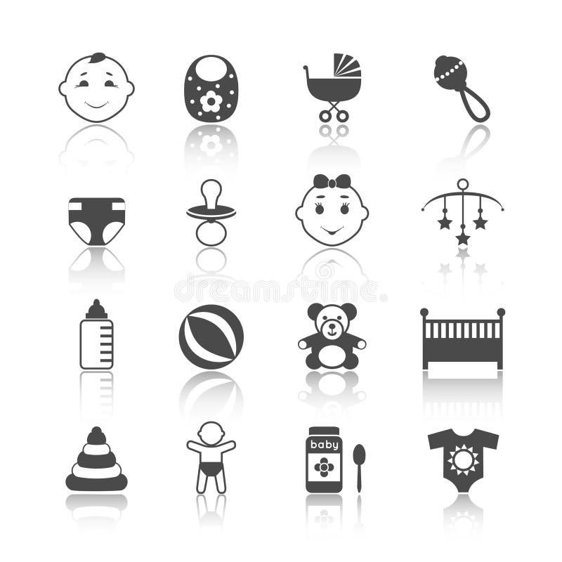 Установленные значки ребенка младенца иллюстрация вектора