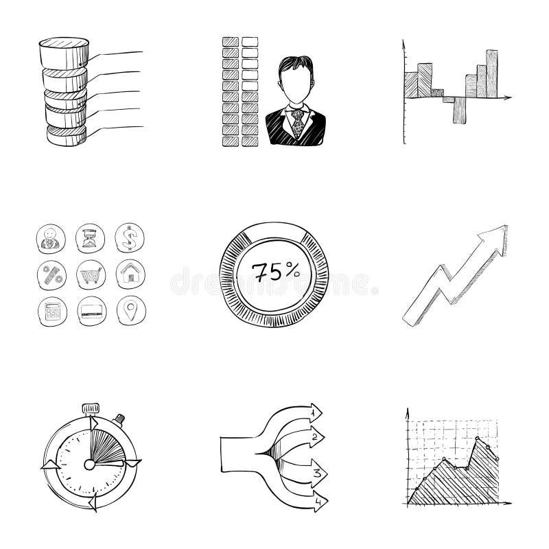 Установленные значки, рука офиса нарисованный стиль иллюстрация вектора