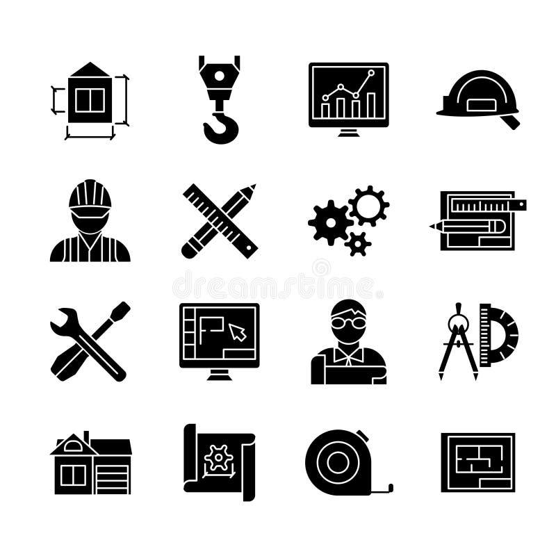 Установленные значки светокопии черные белые плоские бесплатная иллюстрация