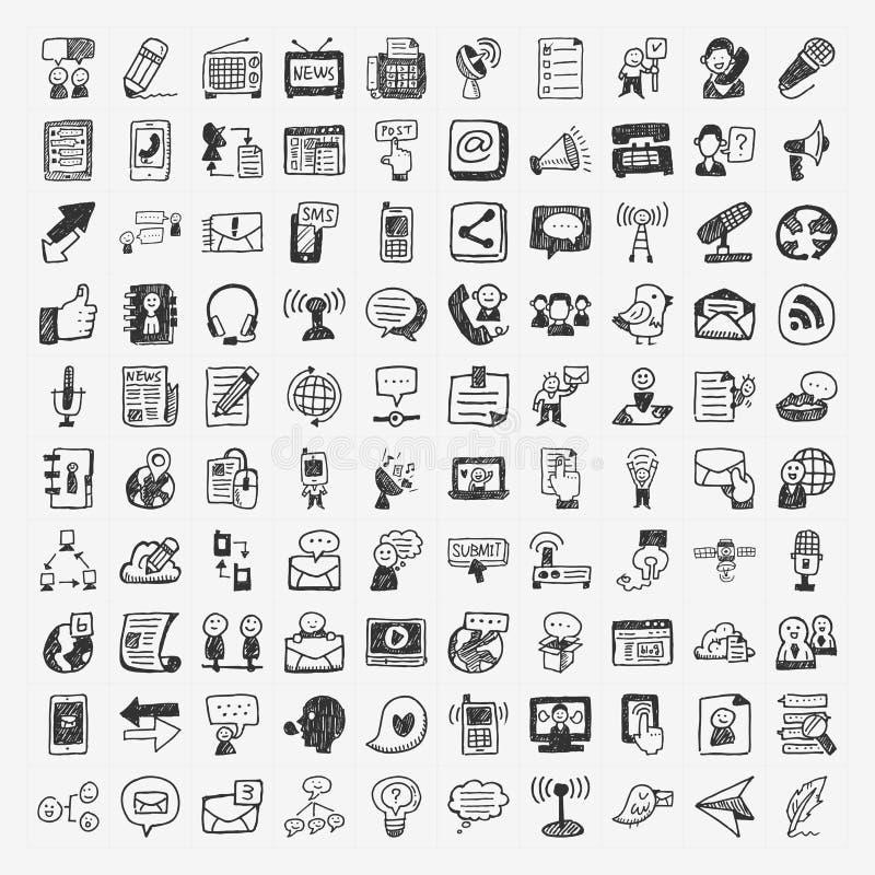 Установленные значки связи Doodle бесплатная иллюстрация