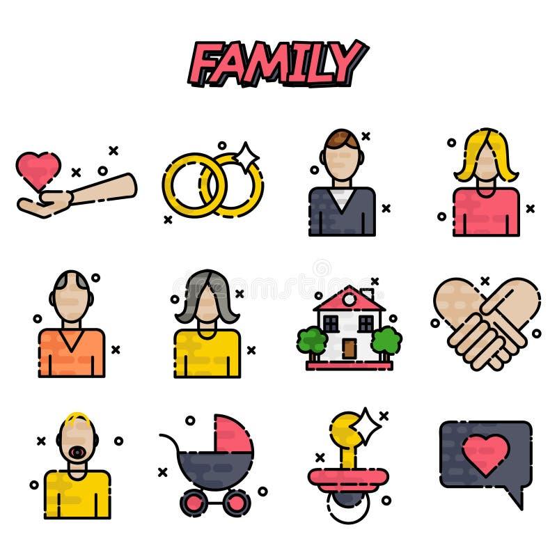 Установленные значки семьи плоские бесплатная иллюстрация