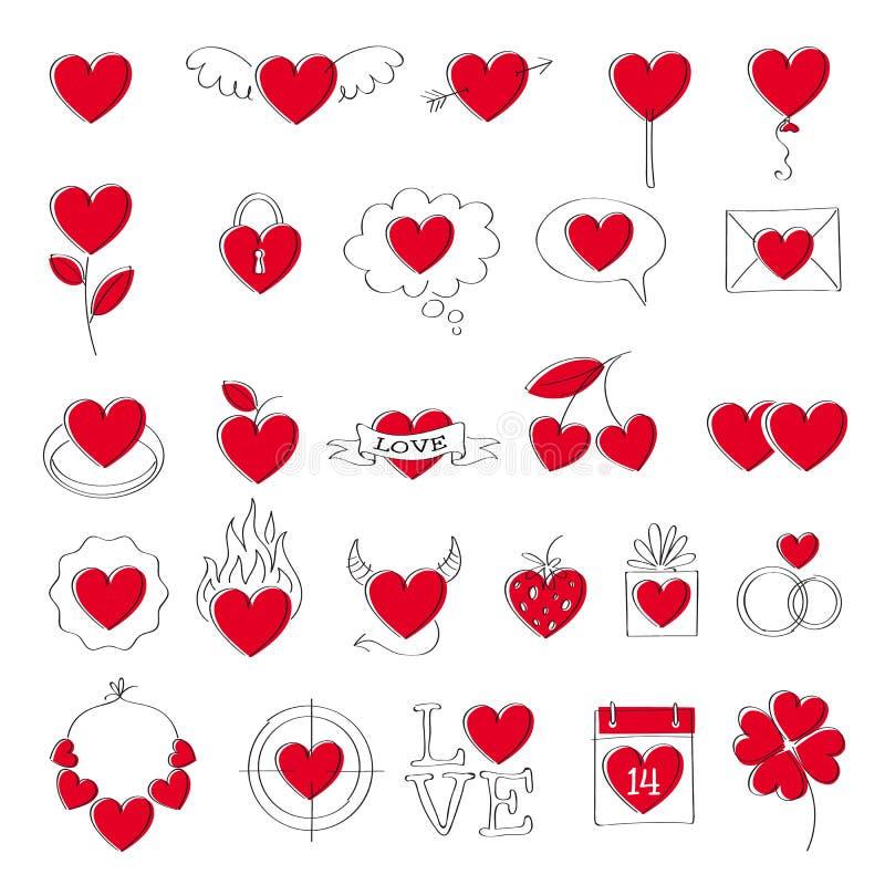 Установленные значки сердца дня ` s валентинки Doodle тип иллюстрация штока