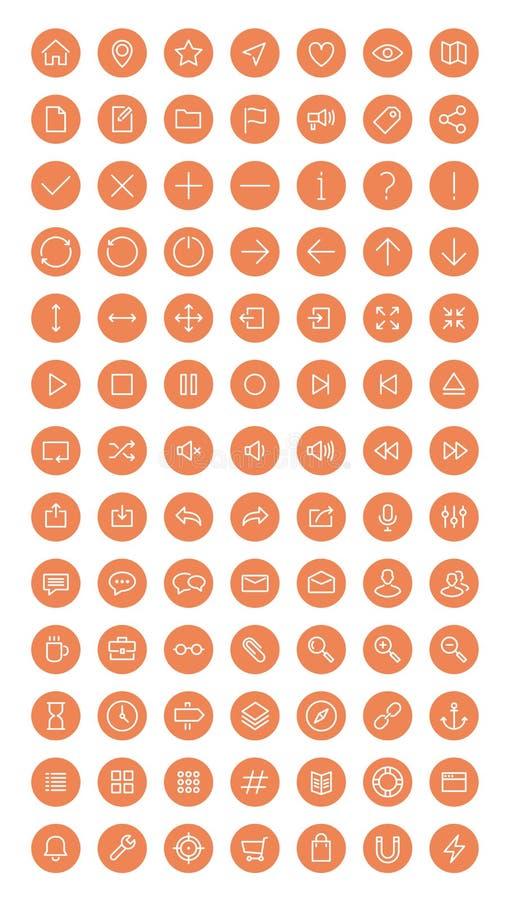 Установленные значки сети и пользовательского интерфейса плоские бесплатная иллюстрация