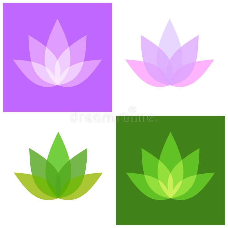 Установленные значки символа лотоса Йога и логотип курорта вектор иллюстрация вектора