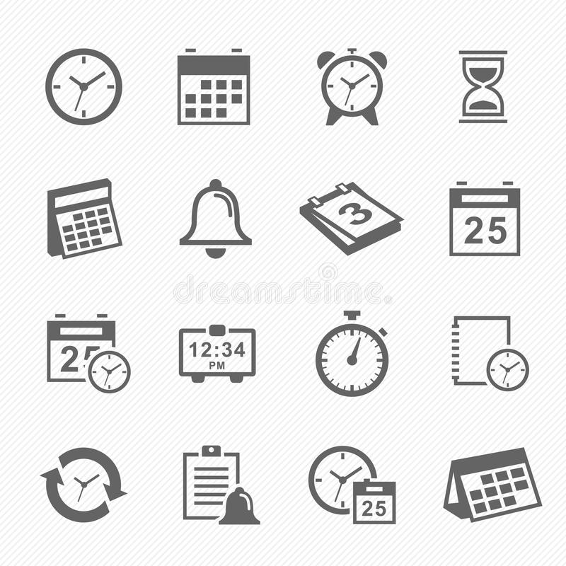 Установленные значки символа хода времени и план-графика бесплатная иллюстрация