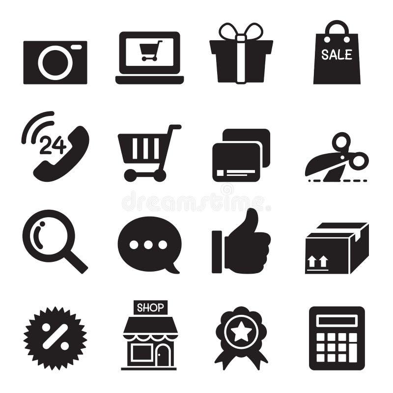 Установленные значки силуэта ходя по магазинам онлайн иллюстрация вектора