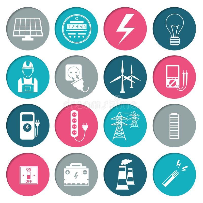 Установленные значки силы электричества бесплатная иллюстрация