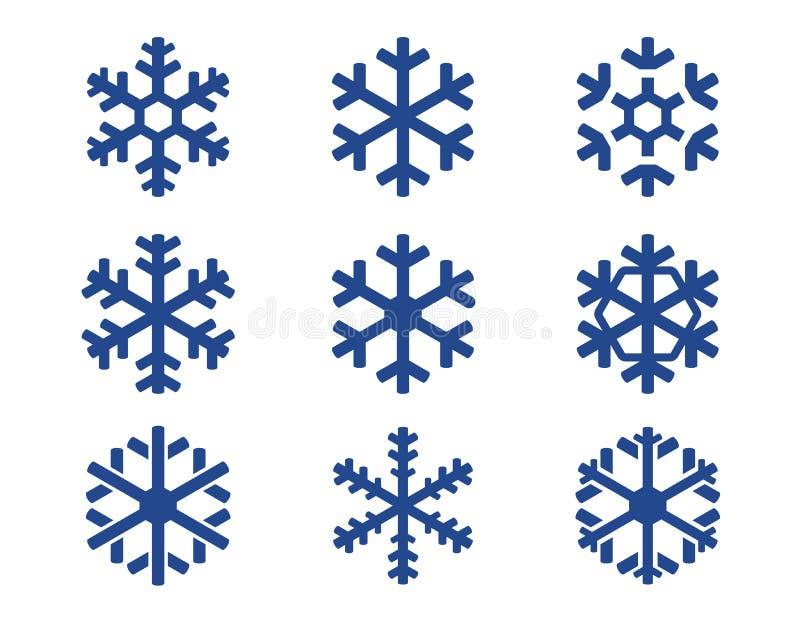 Установленные значки снежинки голубые иллюстрация штока