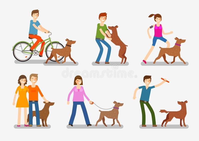 Установленные значки собак и людей Любимчики, иллюстрация вектора животных бесплатная иллюстрация