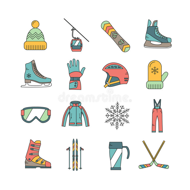 Установленные значки спорта зимы иллюстрация штока