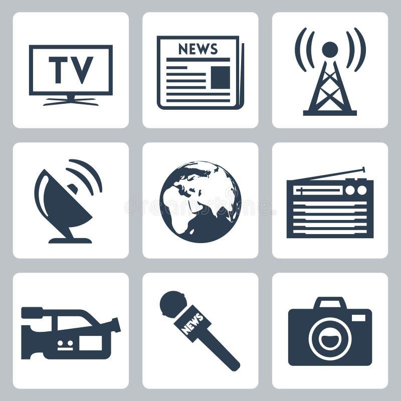Установленные значки средств массовой информации вектора иллюстрация вектора
