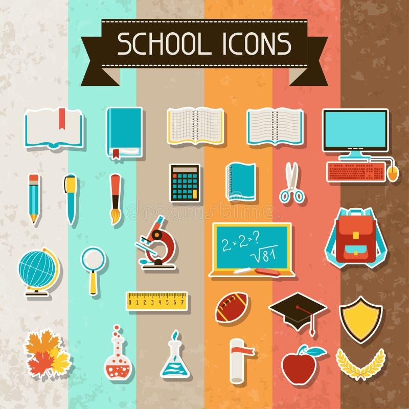 Установленные значки стикера школы и образования иллюстрация вектора