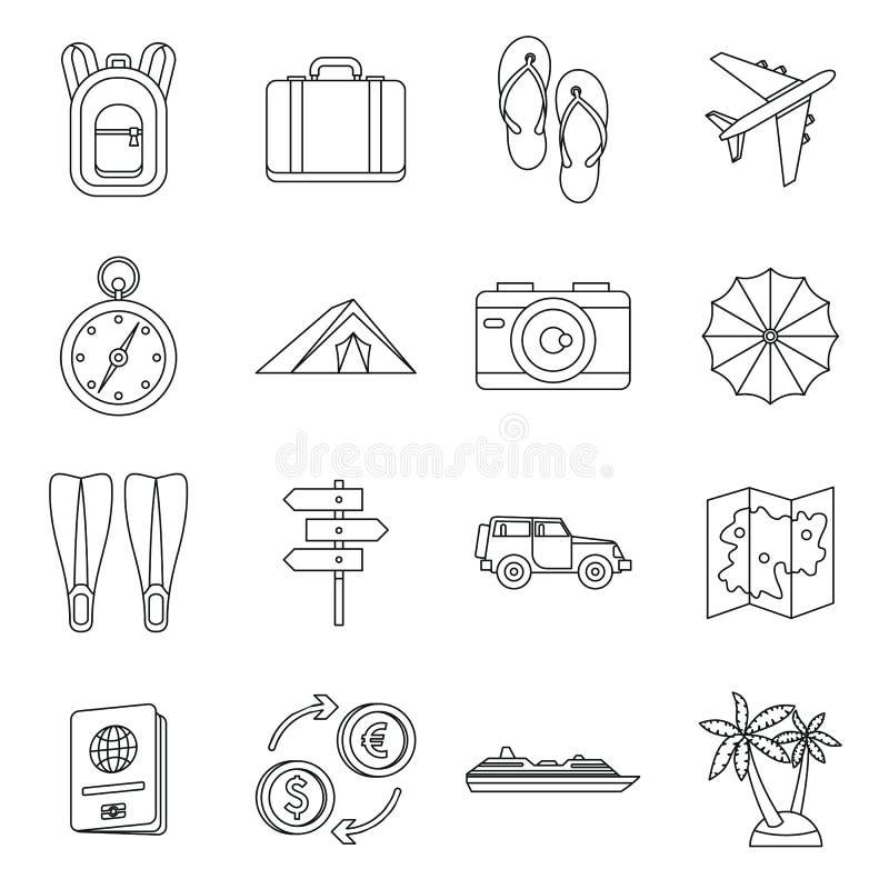 Установленные значки, стиль перемещения плана иллюстрация штока