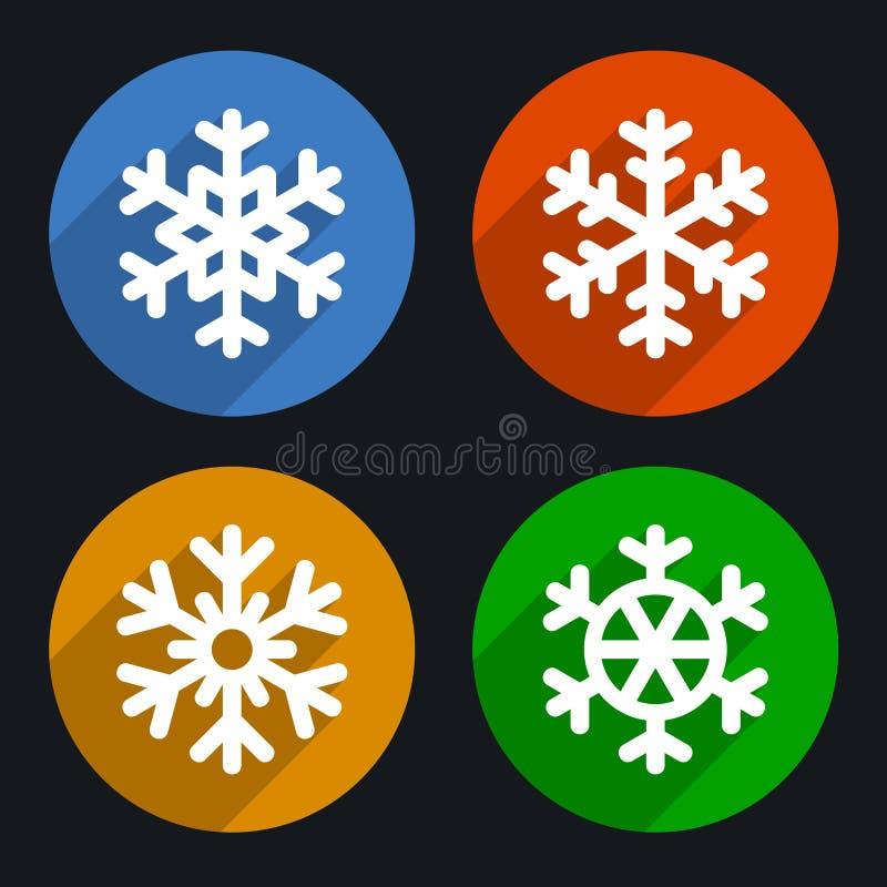 Установленные значки стиля снежинок плоские вектор бесплатная иллюстрация