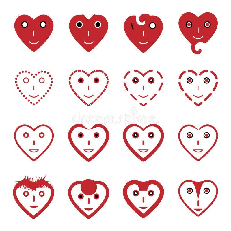 Установленные значки стороны улыбки смайлика сердца бесплатная иллюстрация