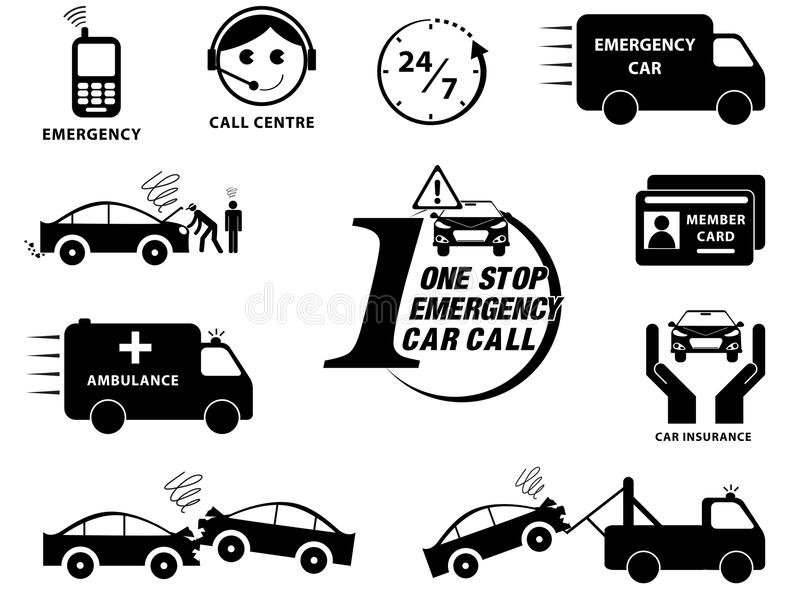 Установленные значки страхования автомобилей бесплатная иллюстрация