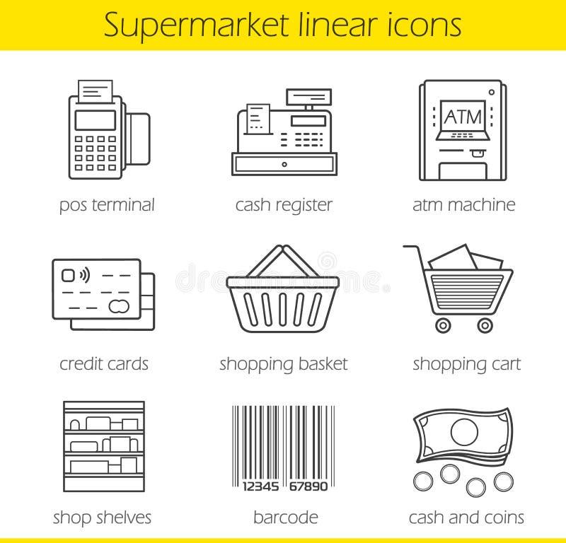 Установленные значки супермаркета ходя по магазинам линейные иллюстрация вектора
