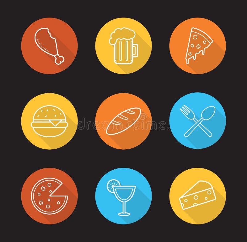 Установленные значки тени еды и пить плоско линейные длинные иллюстрация штока