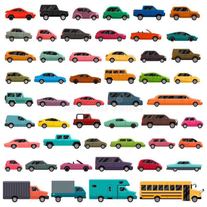 Установленные значки типа автомобиля и модельных красочные иллюстрация вектора