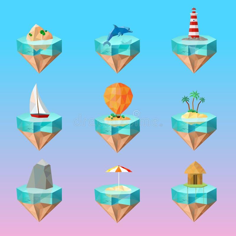Установленные значки тропических символов острова полигональные иллюстрация штока