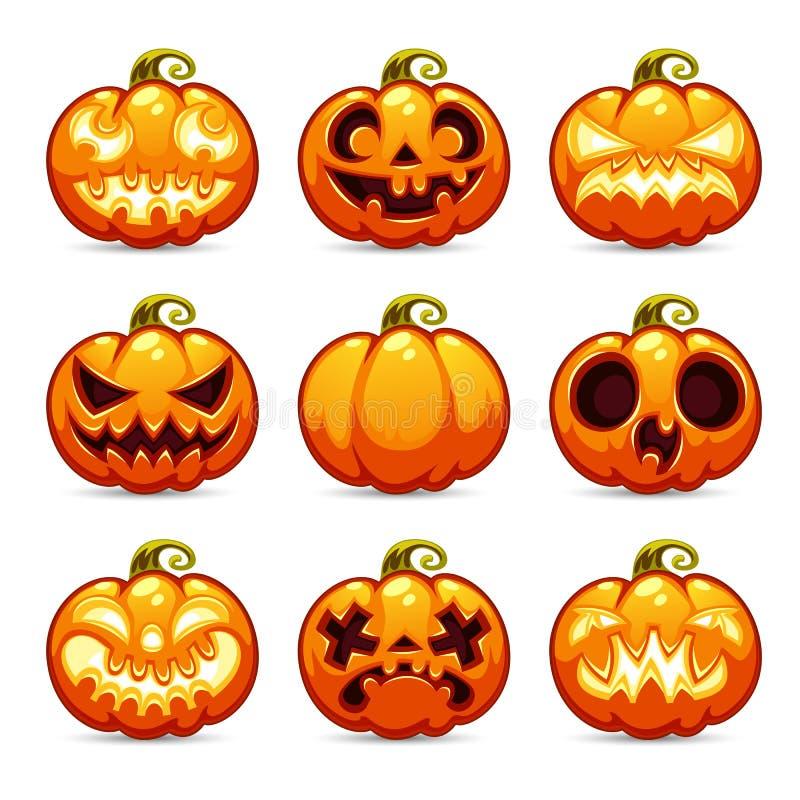 Установленные значки тыкв шаржа хеллоуина бесплатная иллюстрация