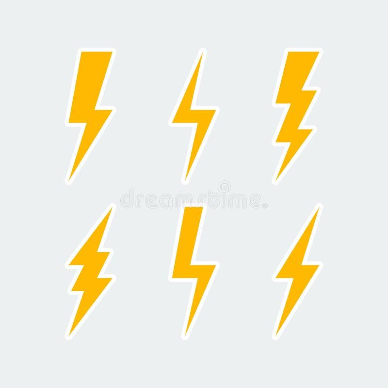Установленные значки удара молнии иллюстрация вектора