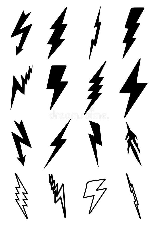 Установленные значки ударов молнии бесплатная иллюстрация