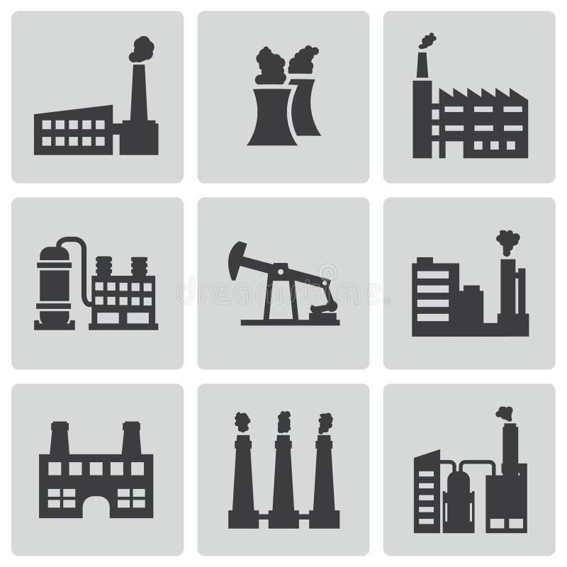 Установленные значки фабрики вектора черные иллюстрация вектора