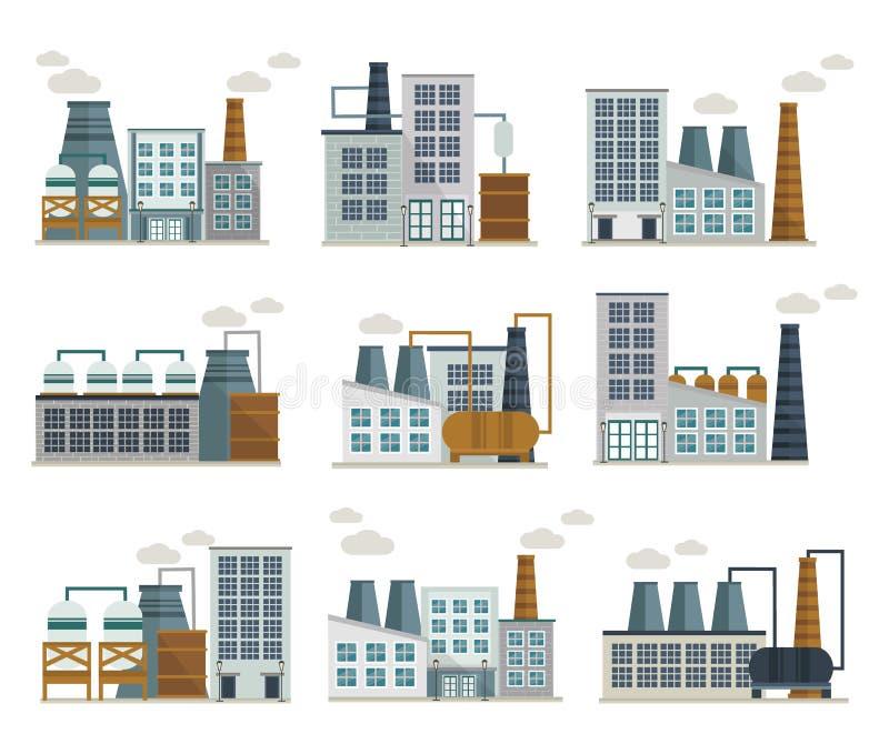 Установленные значки фабрики декоративные плоские бесплатная иллюстрация