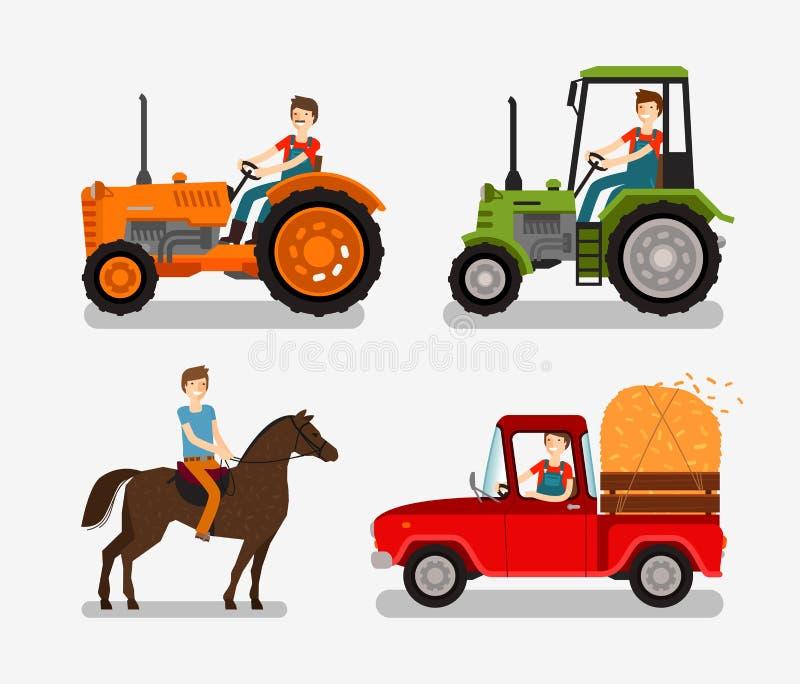 Установленные значки фермы Символы шаржа как трактор, тележка, лошадь, фермер также вектор иллюстрации притяжки corel иллюстрация штока
