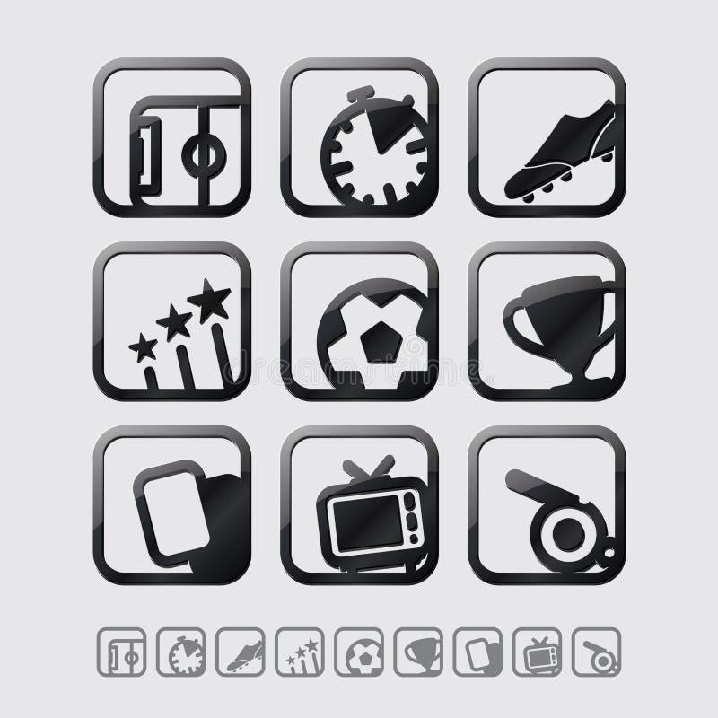 Установленные значки футбола/футбола вектора черные лоснистые иллюстрация вектора