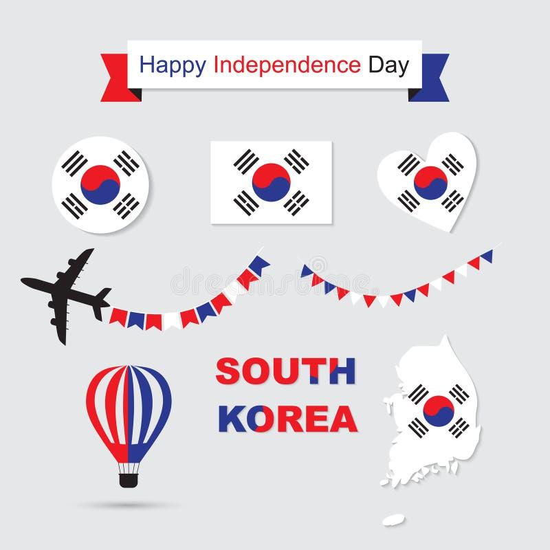 Установленные значки флага и карты Южной Кореи иллюстрация вектора