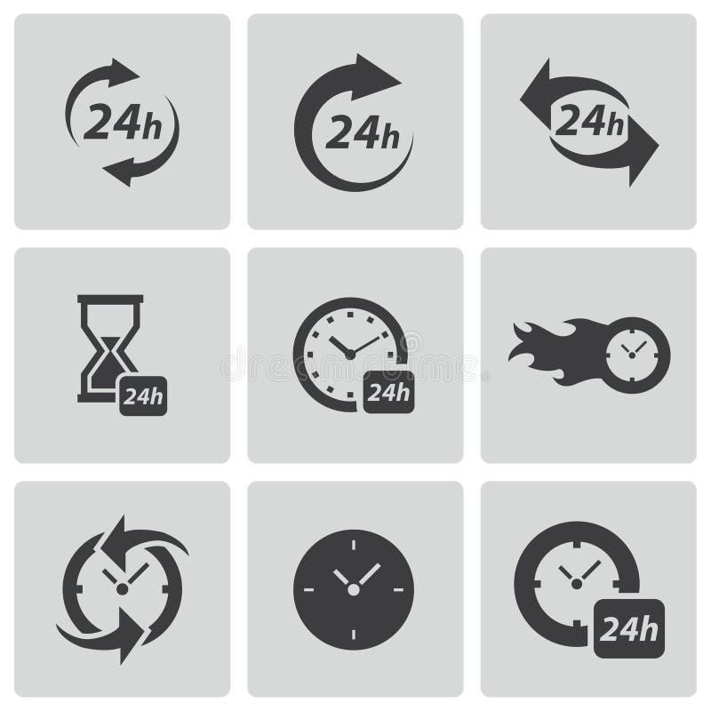Установленные значки часов вектора черные иллюстрация вектора