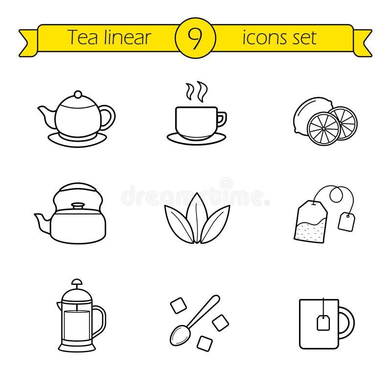 Установленные значки чая линейные иллюстрация вектора