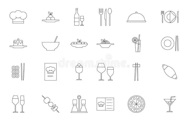 Установленные значки черноты еды ресторана иллюстрация штока