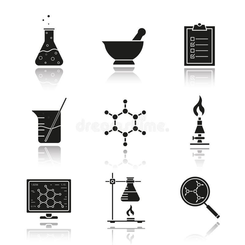 Установленные значки черноты тени падения оборудования химической лаборатории бесплатная иллюстрация